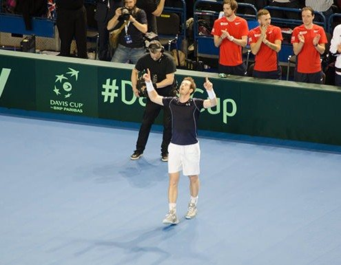 Andy Murray celebrates Davis Cup win