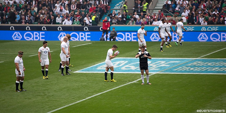 England Rugby Players on the pitch