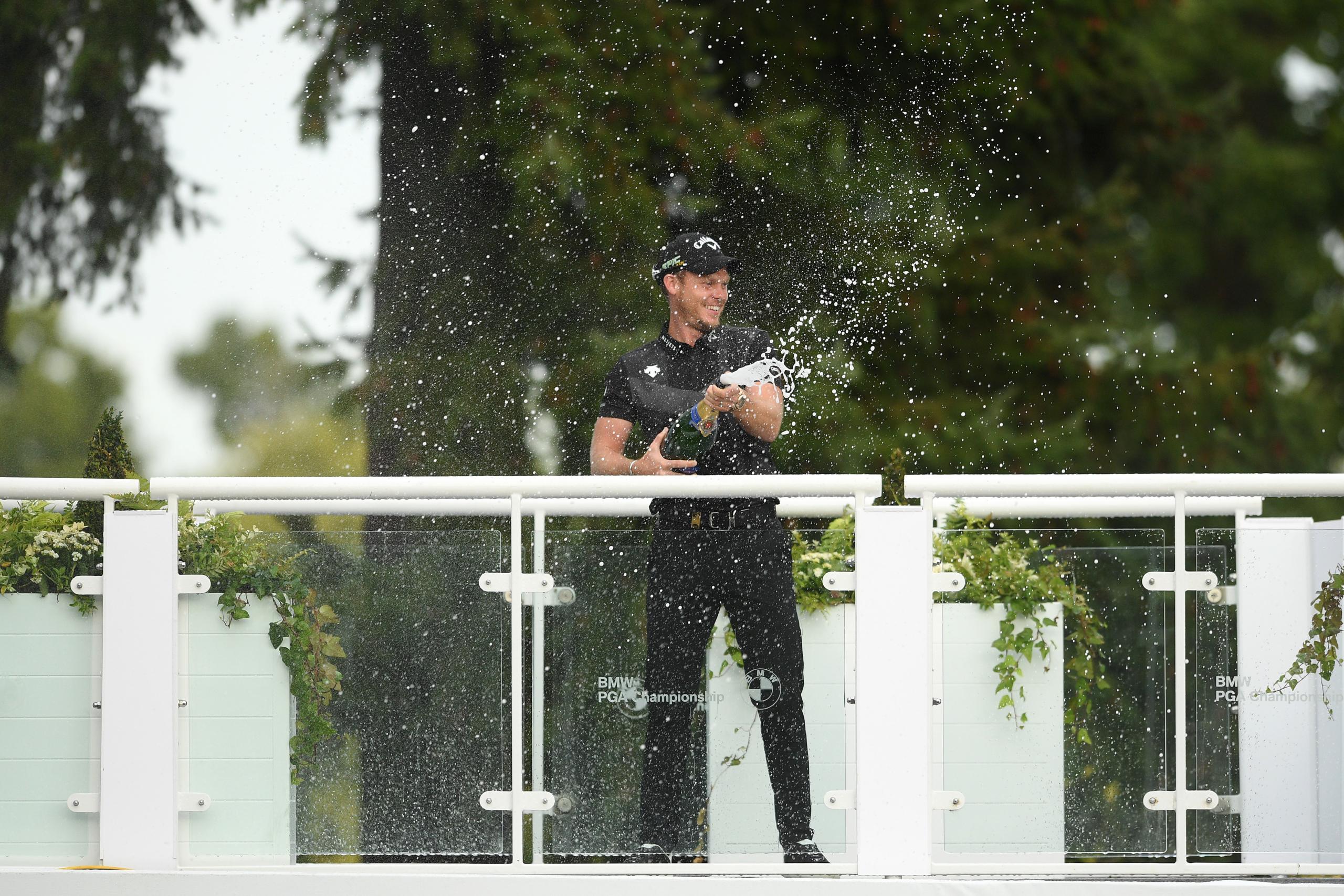 Danny Willett celebrating at the 2019 BMW PGA Championship