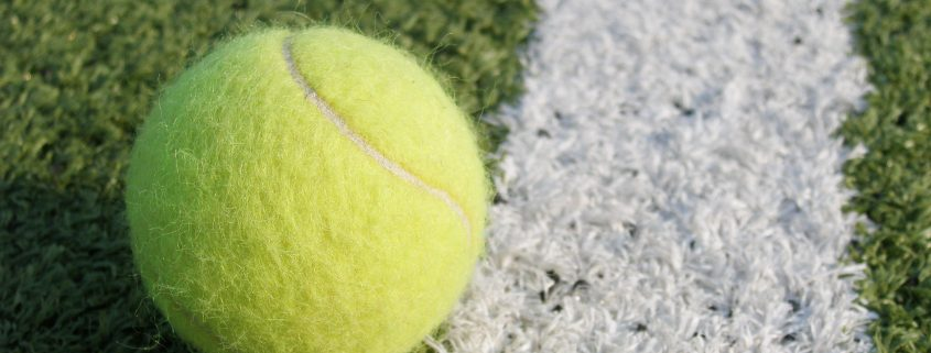Tennis ball on the court at Wimbledon