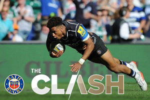 Anthony Watson scoring against Leicester Tigers in The Clash at Twickenham Stadium