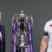 Eddie Jones and England Caption with the Rugby cup