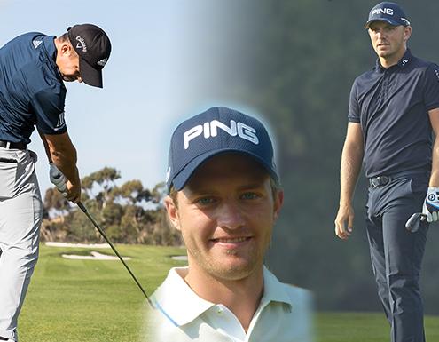 Matt Wallace, Xander Schauffele, Tom Lewis playing golf