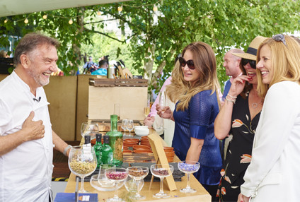 Guests with Raymond Blanc in Le Sunflower at Chelsea Flower Show