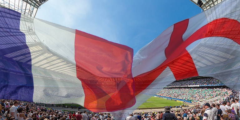 English French Flags Twickenham Stadium