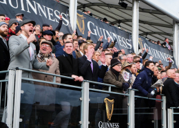 Racegoers in Stands at Cheltenham Festival Cheering